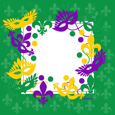 Mardi gras. Elegant green frame. Place for your text. Carnival masks, and more. Illustration