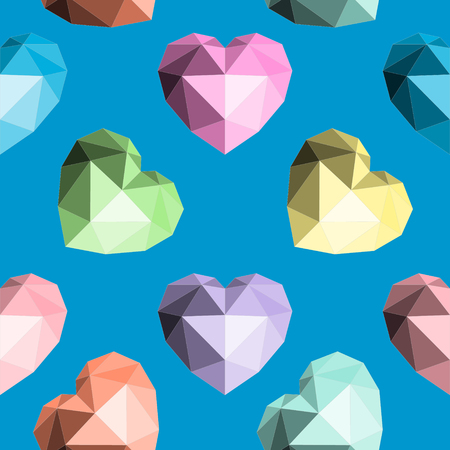 Origami heart. Seamless vector pattern for Valentines Day, Random Acts of Kindness Day, Wedding, and Birthday on a Blue background