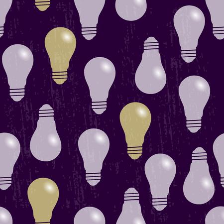 Seamless pattern. The bulbs light. Purple background
