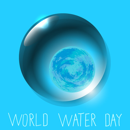 World Water Day. Save the water. Save nature. Planet Earth in Water drop. Blue background. Lettering.