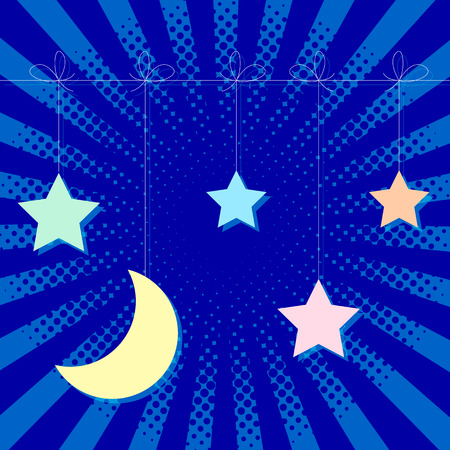 World Sleep Day. Stars and moon hang on a string. Pop art style.