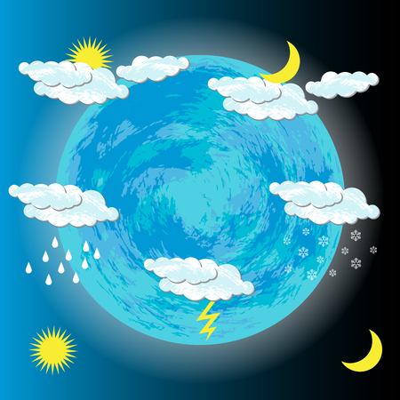 World Meteorological Day. Image of the Earth, clouds, sun, moon, rain, snow, lightning For banners flyers sites Çizim