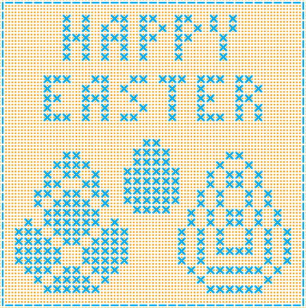 Happy easter. Imitation of cross stitch. Test and images of eggs