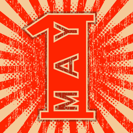 1st May Labor Day. Retro, vintage background.