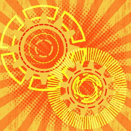 Gears in rays Retro background. Techno design Illustration