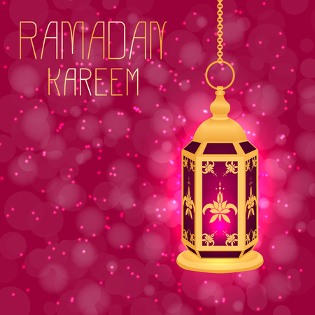 Ramadan Kareem. Concept of a Islamic holiday. Lamp shines. On a crimson background with blur