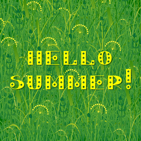 Background of grass with hello summer text. Illustration