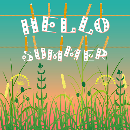 Hello summer text with grass design on sky background
