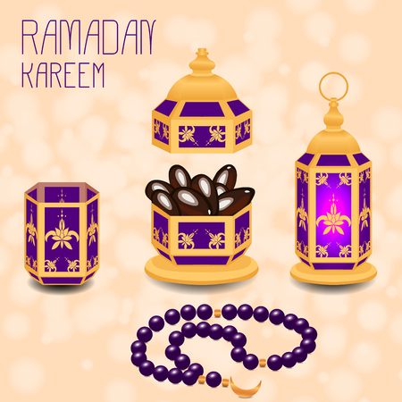 Ramadan Kareem. Concept of a Islamic holiday. Lamp shines, a vase with dates, a glass of water, chaplet from 33 beads. On a beige background with blur