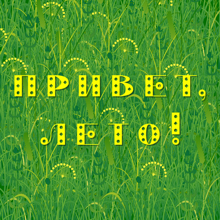 Background of grass. Text in Russian - Hello summer. Plants meadows and fields. Concept summer, nature, freshness relaxation