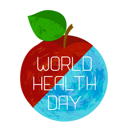 World Health Day. Earth and an apple, divided diagonally. Text with the name of the holiday. Grunge effect illustration.