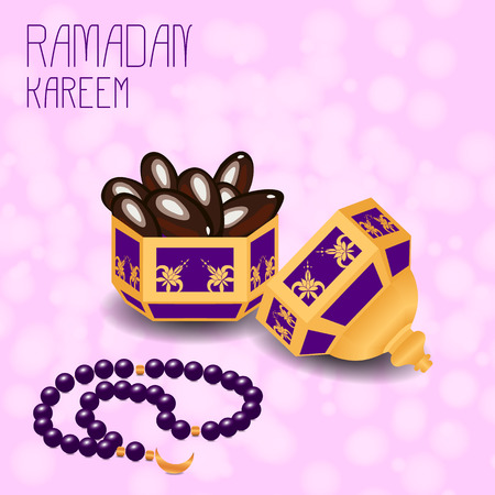 Ramadan Kareem. Concept of a Islamic holiday. container with dates and chaplet from 33 beads.