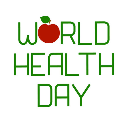 World Health Day. Lettering and apple. Text with the name of the holiday