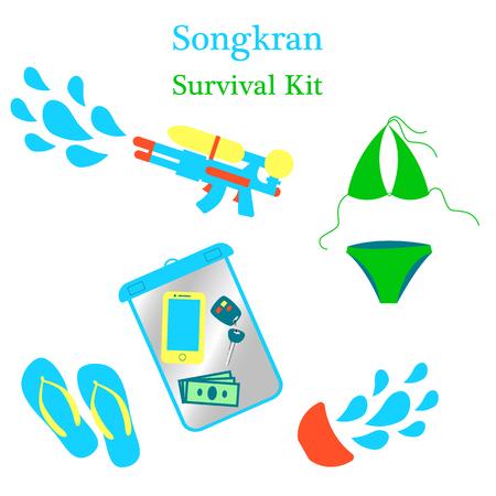 Songkran New Year in Thailand. Jocular set of illustrations survival kit.