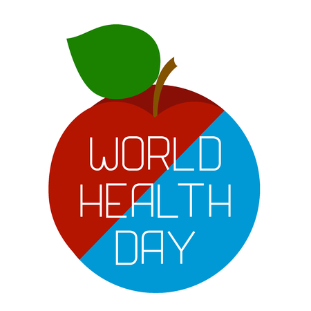 World Health Day. Earth and an apple, divided diagonally. Text with the name of the holiday