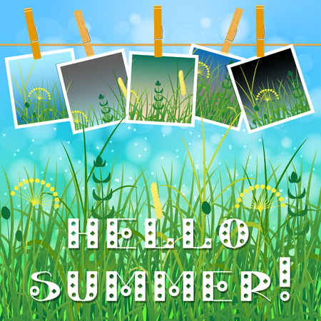 Concept Summer. Sky, blur, field grass. Summer photos on clothespins on a rope. You can insert your photos. Text - Hello summer