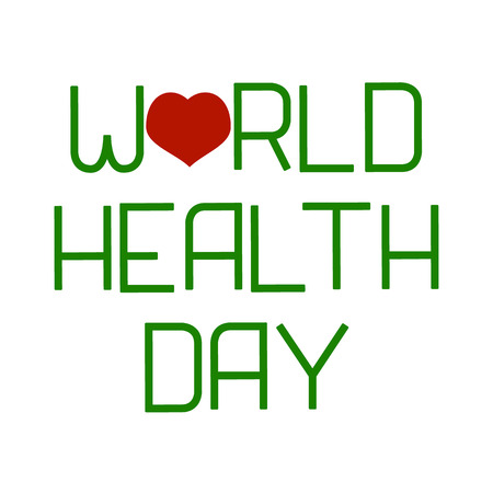 世界保健デー。レタリングとハート。祝日の名前を含むテキスト。ベクトルのイラスト。