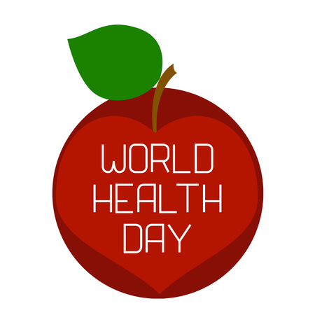 World Health Day, Earth and an apple, divided diagonally. Text with the name of the holiday