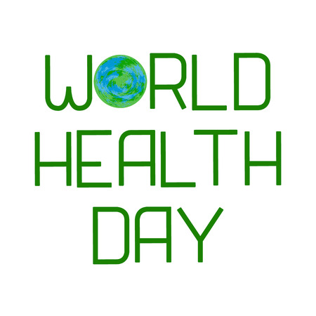 World Health Day. Earth and Lettering. Text with the name of the holiday. Illustration