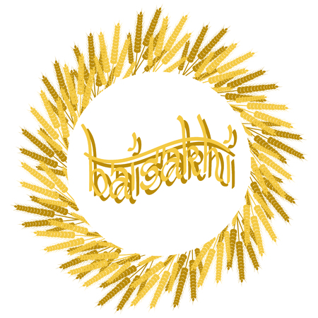 Holiday Baisakhi. New Year of the Sikhs. Wreath of Wheat. On a red-orange background. Lettering name of the holiday