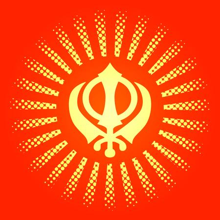 Celebration Holiday Baisakhi. New Year of the Sikhs.  On a red-orange background Illustration