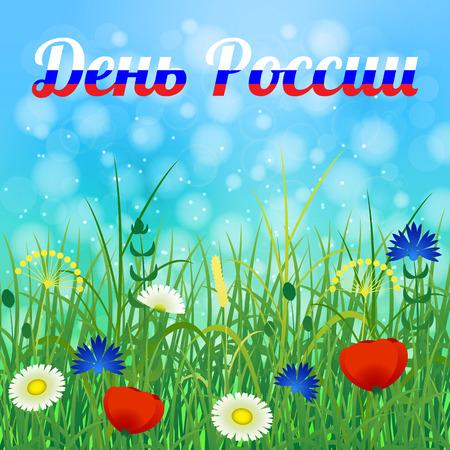 Festa russa ufficiale. 12 giugno. Testo in russo - Russia Day. Erba e fiori di campo. Colore russo: bianco, blu, rosso