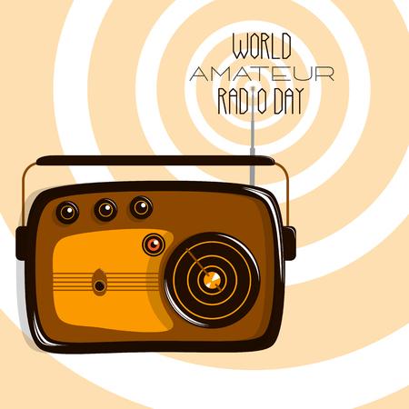 World Amateur Radio Day. Retro radio and radio waves