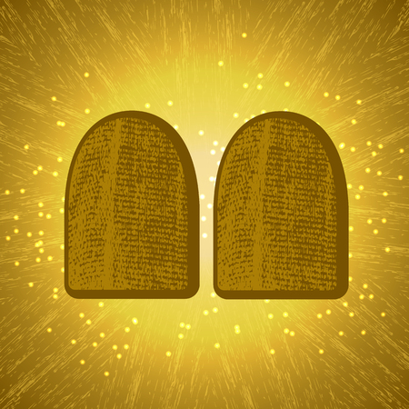 Shavuot. Concept of Judaic holiday. Tablets of the covenant of Moses Bible Torah. Ten Commandments. Back light shines. Brown background, grung texture