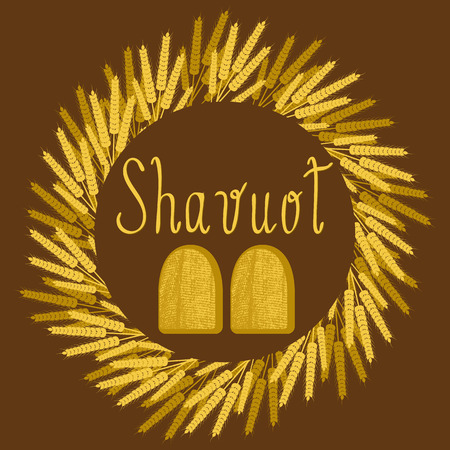 Shavuot. Concept of Judaic holiday. Wreath of wheat ears. Tablets of the covenant. Ten Commandments. Brown background