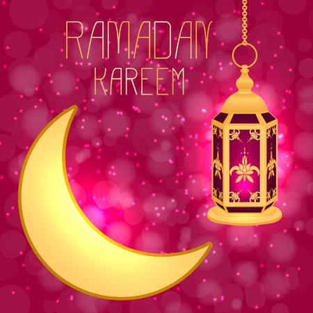 Ramadan Kareem. Concept of a Islamic holiday. Lantern and moon. On a crimson background with blur Illustration