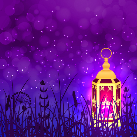 Ramadan Kareem. Concept of a Islamic holiday. Lamp shines. Background purple night sky. Lantern standing on the grass.