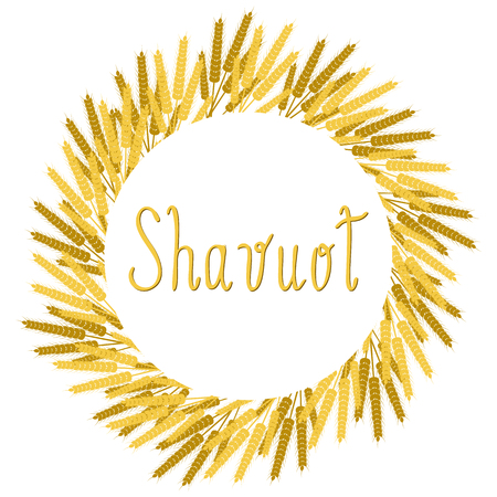 Shavuot. Concept of Judaic holiday. Wreath of wheat ears. White background