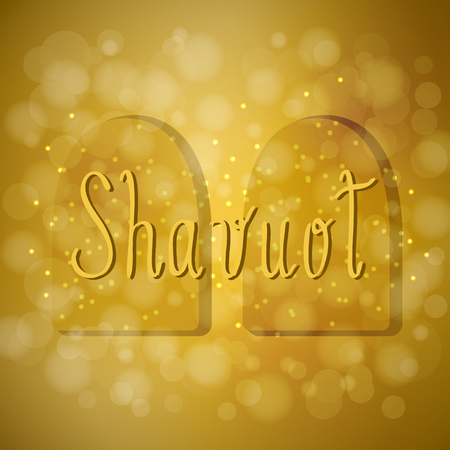Shavuot. Concept of Judaic holiday. Tablets of the covenant of Moses. Ten Commandments. Brown background, blur