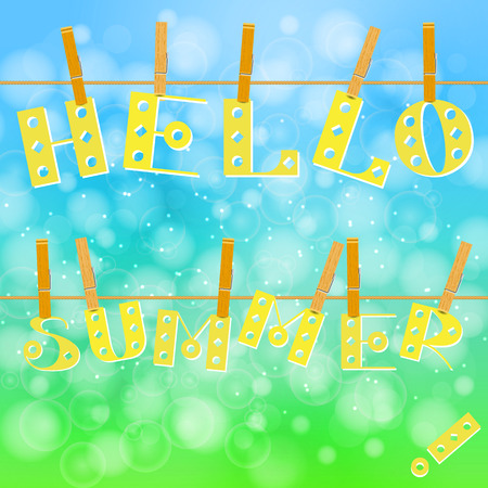 Concept for Summer with text and clothespins vector illustration