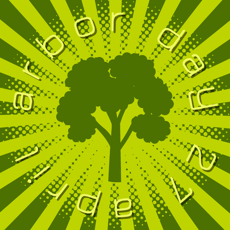 National Arbor Day. Silhouette of a tree. Circular inscription Illustration