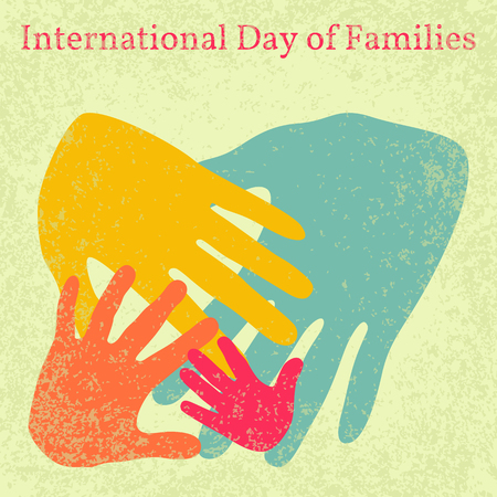International Day of Families. Concept of a family of 4 people - father, mother, daughter, baby - handprints. Grunge effect. Vettoriali
