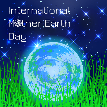 International Mother Earth Day. Concept of the event. Planet Earth. Lying in the grass against the background of the night sky Illustration