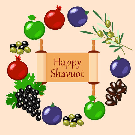 Shavuot Concept of Judaic holiday. Apple, pomegranate, figs, grapes, olives, dates, wheat ears Arranged in a circle. Sefer Torah Peach background Vector illustration. Ilustração