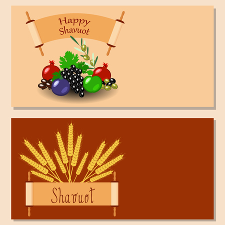 Shavuot Concept of Judaic holiday. Flyers for event participants. Apple, pomegranate, figs, grapes, olives, dates, wheat ears. Sefer Torah Vector illustration.