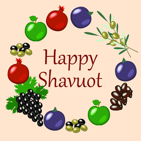 Shavuot Concept of Judaic holiday vector illustration..