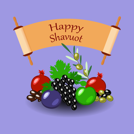 Shavuot. Concept of Judaic holiday. Apple, pomegranate, figs, grapes, olives, dates. Sefer Torah. Lilac background Illustration