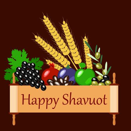 Shavuot. Concept of Judaic holiday. Apple, pomegranate, figs, grapes, olives, dates, wheat ears. Sefer Torah. Brown background Ilustração