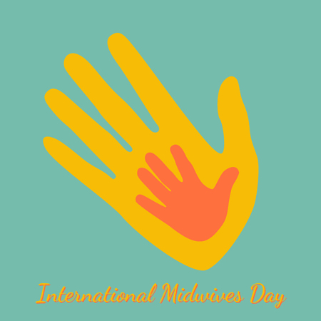 International Midwives Day. Handprints of mother and baby. Green background. The text is the name of the holiday Vettoriali