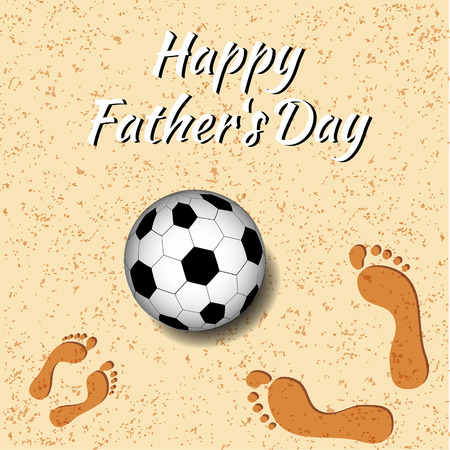Fathers Day. Concept of holiday. On the beach a soccer ball, footprints of father and child. Template for greeting card, Banner, flyer, invitation, congratulation, poster design. Vector illustration