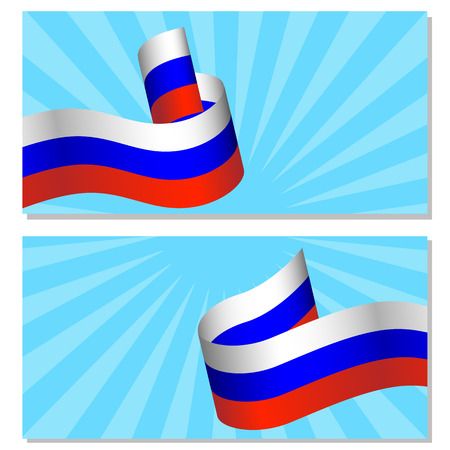 Russia Day. Official Russian holiday. 12 june. Pop art style. Blue rays. White Blue Red Ribbon. Flyers for event participants.