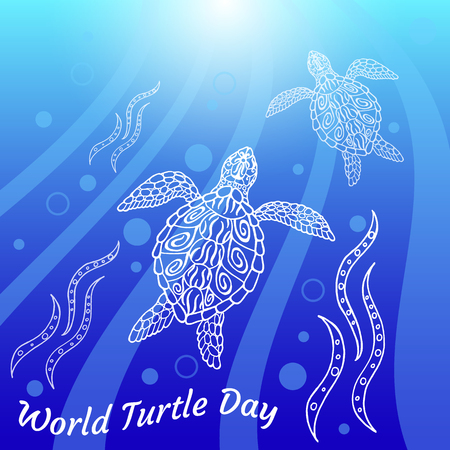 World Turtle Day. Water turtles swim up. Rays, bubbles, light. Drawing in ethnic aboriginal style. Blue background