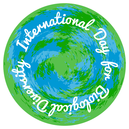 International Day for Biological Diversity. The concept of ecological holiday. Planet Earth on a white background. Event name