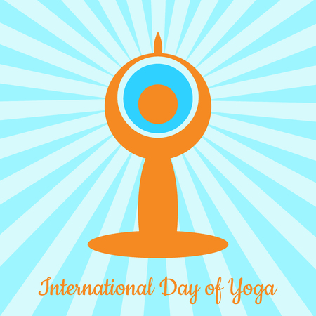 International Day of Yoga. The stylized figure of a man in a yoga asana sits. The rays come from the head. Behind the head is the Earth Vettoriali