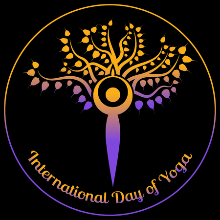 International Day of Yoga banner. The stylized figure of a man in a yoga asana is worth against the background of the Bodhi tree. Illustration