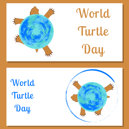 World Turtle day banner, land tortoise view from above. The tortoise shell is the planet Earth. Flyers for event participants.